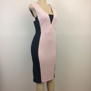 NY&C  Dress Petite M Stretch Colorblock Sheath